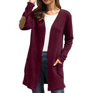 Sweaters - NWT Button Back Wine Patch Pocket Duster Cardigan